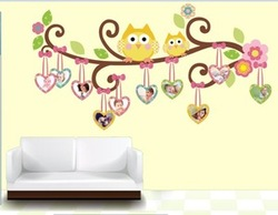 Owls Birds Photo Frame Wall Sticker Decor Decal Kids Nursery Room Removable