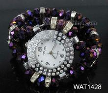 Dark purple crystal glass beads bracelet watch with rhinestone