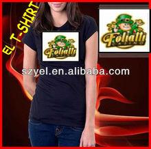 lovely cartoon sound activated music t-shirt,led t shirt design/el shirt Online Shopping