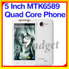 Latest 5'' Android 4.2 MTK6589 RAM 1G/8G dual sim card cell phone