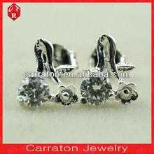 Promotion!!! Fancy 18K white gold plate stud earrings with zircon