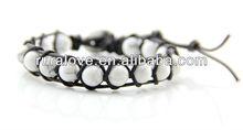 2013 Chan leather wrap 8mm stone bracelet