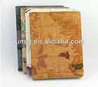 map pattern design leather cover case for ipad 2 3 4 in stock