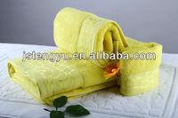 Fancy homestlye yellow Jacquard 5 star Customized hotel towel set with EMB LOGO hotel towle set