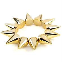 New Fashion Cool Rock Punk Stud Spike Rivet Elastic Stretch Gold Bangle Bracelet Wholesale 100pcs/lot[B639*100]