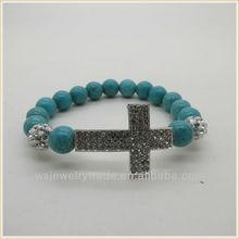 Pave Crystal Cross For Bracelets,Gemstone Sideway Cross Bracelet