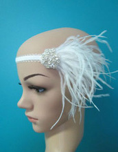 1920s white ostrich feather flapper headband