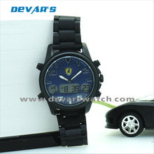cool black coating lover watch with digital analog face dial