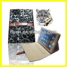 Luxury Panther Leopard Leather Case for iPad mini Smart Cover with Buckle Button Belt Clip Stand Wholesale Tablet Cases 1