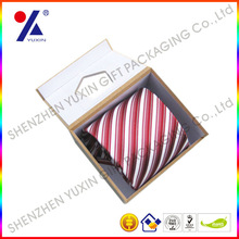 High quality paper gift box tie packaging box with clear window magnet closure