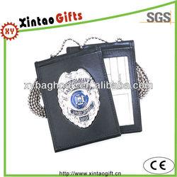 Metal and leather badge holder, name card holder, ID card holder