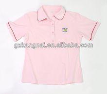 Impressão azul 2013 senhoras new design de manga curta t shirt estilo médio 100% algodão el camisa das senhoras t