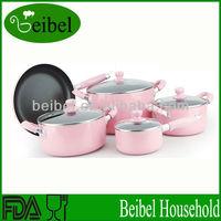 Non-stick alulminum ceramic pink pots and pan