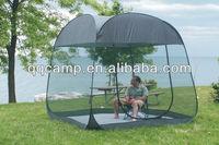 windproof spring steel wire pop up screen tent with floor for 4man