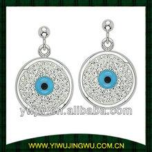 Evil Eye Bead Turkish Nazar Greek Charm Sterling Silver Dangling Earrings (JW-G11023)