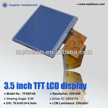 Active matrix LCD 3.5inch LCD TFT panel LQVGA for MP3/MP4 -TF35014A