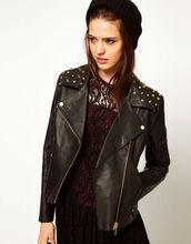 Gold Studded Leather Biker Jacket Motorbike Fashion Leather Jacket for Women