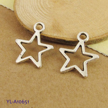 Copper Star Charms Tiny Antiqued Cut Out