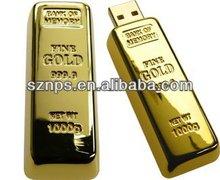 Metal Big Golden Bar USB Flash Memory with Free Laser Engraving