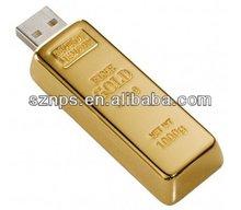 Metal Big Golden Bar Flash Memory with Free Laser Engraving