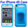 Irregular Protuberant Ergonomics Curve Back Cover Stand Silicone Case for iPhone 4S iPhone4