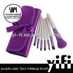 Hot Sale! Purple Case 7pcs Makeup Brush set color shine makeup brushes assorted makeup brush set