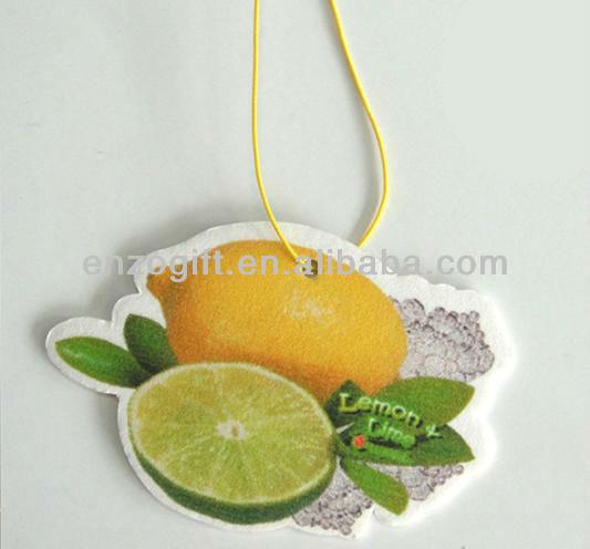 Lemon car freshener, hanging air freshener, flavour & fragrance air freshener