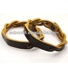 Earth brown plait genuine leather wrist strap