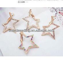 Korean Big Hoop Five-star Shape With Colorful Diamond Setting Gold Ear Stud zywg_020122901