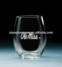 wholesales high quality etched stemless wine glass for promotional