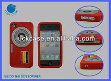 Embossed camera desgin silicone mobile case for iphone4/4s