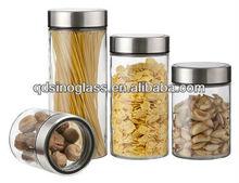 SINOGLASS Borosilicate Glass Stoage jar with see trough window lid set 4 size 850ml/1250ml/1700ml/2200ml