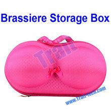 Little Polka Dots Cute Travel Brassiere Storage Box Bra Case - Hot Pink