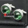round crystal cufflinks made of stainless steel