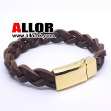 High class Men's leather bracelet with steel magnetic buckle