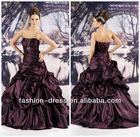 Beautiful strapless taffeta ruffled ball gown beaded maroon wedding dress