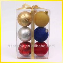 Colorful new design christmas flocking hanging ball