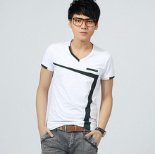 plain color printing v neck t shirt for men