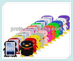 Penguin cartoon design silicone rubber 3d case for ipad mini/for ipad 2 3 4