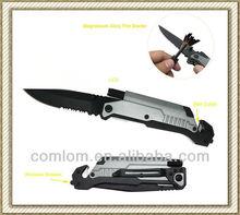 Multi-function Folding Survive Knife with LED light/belt Cutter/Fire Starter