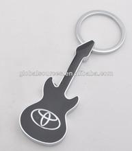 Metal guitar shape key chain with car logo