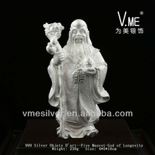 [ASA-042] 999 Silver Objects D' art--Five Mascot-God of Longevity, 999 Silver Objects D' Art,with Silver Plated and Nickel Free.