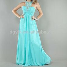 2013 new arrival sleeveless blue princess prom long chiffon dresses