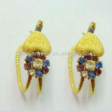 heart and rhinestone flower earrings fashion 2013