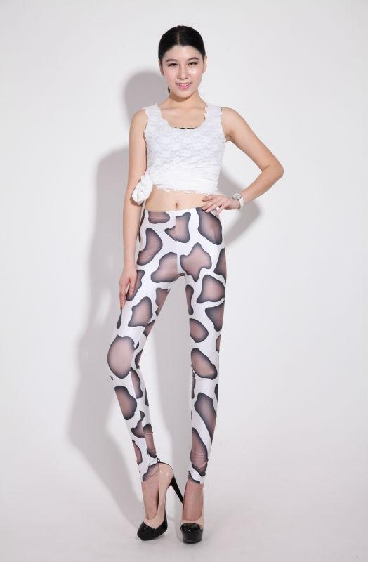 "Excellent!! 2013 New Women Tie Dye Spandex Shine ""Black Milk"" Leggings Brown Cow Spot Leggings"