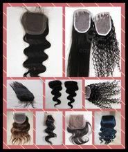 Delicateness top quality 100% human hair closure peruvian hair closure for hair salon
