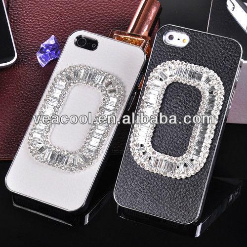 Handmade Diamond Chrome Leather Hard Case for iPhone 5 5G 5S