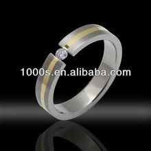 Gold Titanium Ring/ Cz Titanium Jewelry