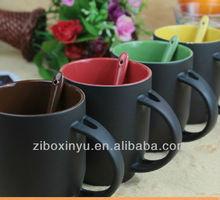 11oz Matt Finished Black blank Magic mugs with spoon FOR ZIBO XINYU
