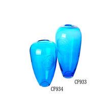 carved blue rose color glass flower vase Thick glass vase